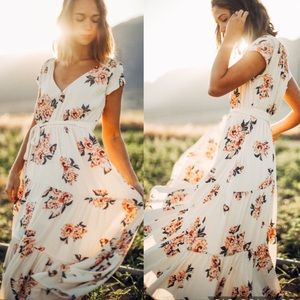NWT Free People All I Got Ivory floral Maxi Dress